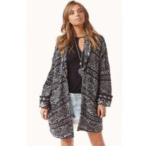 Free People Hidden Snowflake Wool Snap Front Cardigan Sweater Women's XS Gray